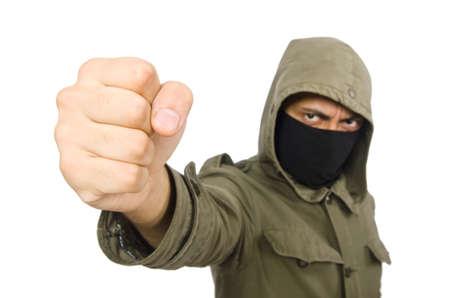 Criminel portant un masque isolé sur blanc Banque d'images