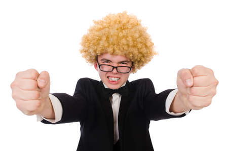 Young man wearing afro wig