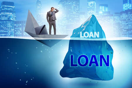 Debt and loan concept with hidden iceberg