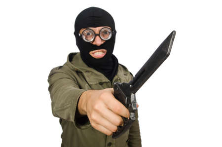 Criminel portant un masque isolé sur blanc