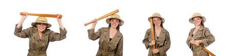 Woman wearing safari hat on white Stock Photo