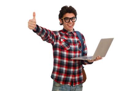 Junger männlicher Student isoliert auf weiß