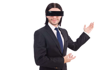 Young man with black face mask on white