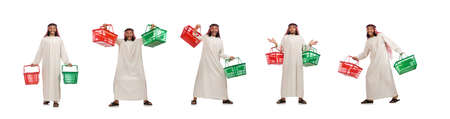 Arab man doing shopping isolated on white 版權商用圖片