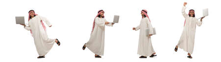 Arab man with laptop isolated on white 免版税图像