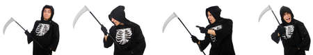 Young man with scythe in halloween concept Imagens