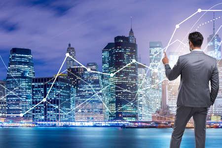 Businessman in stock trading concept Stockfoto
