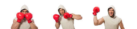 Boxing concept with young sportsman Banco de Imagens