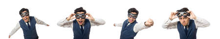 Funny man wearing goggles isolated on white