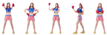Young female boxer isolated on white Banco de Imagens