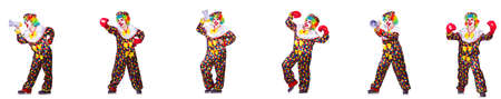 Funny male clown with boxing gloves and loudspeaker