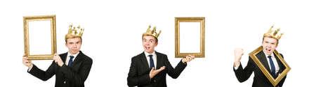 Mann mit Bilderrahmen isoliert auf dem Weiß Standard-Bild