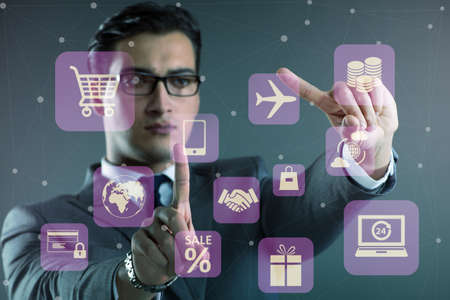 Businessman in online trading and shopping concept