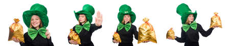 Young woman with green giant bow-tie Banco de Imagens