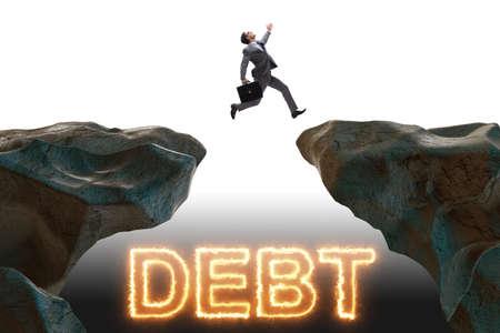 Businessman in debt and loan concept Stok Fotoğraf