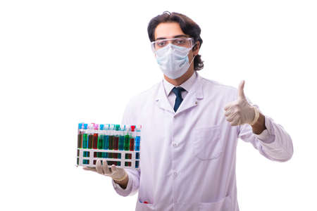Young chemist isolated on white background