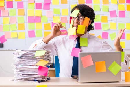 Young employee in conflicting priorities concept