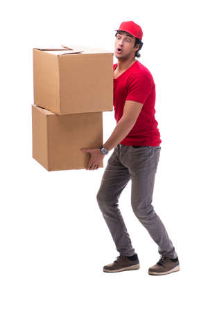 Young male courier with box Stock Photo