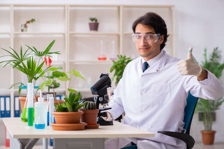 Biotechnology chemist working in lab