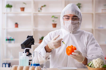 Scientist working in lab on GMO fruits and vegetables
