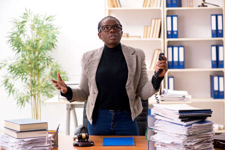 Black female lawyer in courthouse Stock Photo