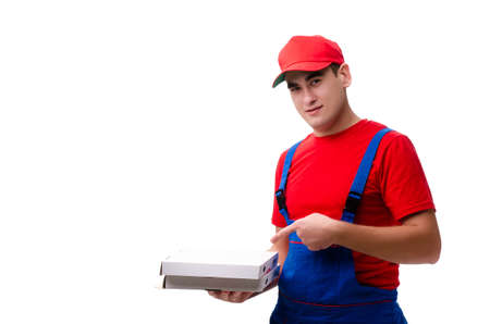 Pizza delivery worker isolated on white Banco de Imagens