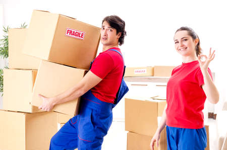 Professional movers doing home relocation Stockfoto