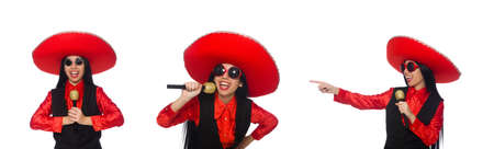 Mexican woman in funny concept on white Banco de Imagens