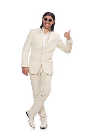 Hombre en concepto divertido aislado en blanco Foto de archivo