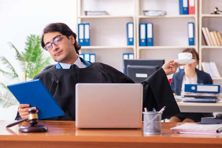 Two lawyers working in the office
