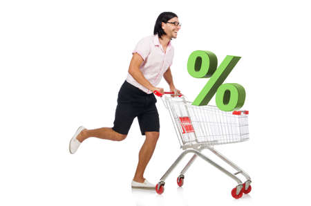 Man in sale and discount shopping concept Stockfoto
