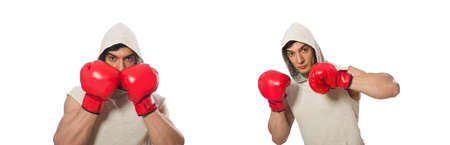 Boxing concept with young sportsman Stock Photo