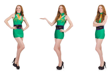 Young sexy girl in green dress isolated on white 版權商用圖片