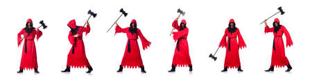 Executioner in red costume with axe on white Фото со стока