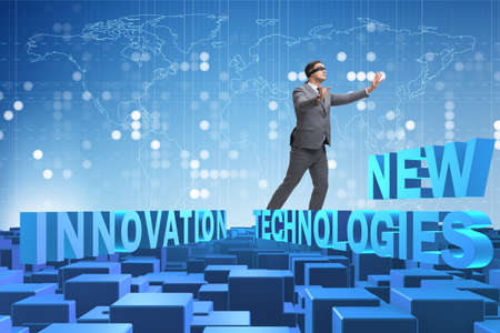 Businessman in new technologies concept Stock Photo