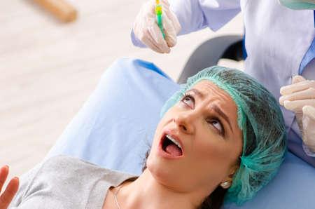 Woman preparing for cosmetic plastic surgery