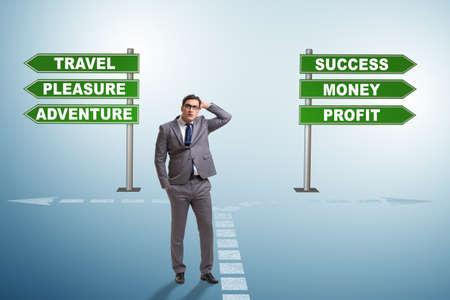 Businessman facing hard choice in work home balance