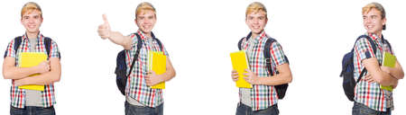Student with backpack and notes isolated on white