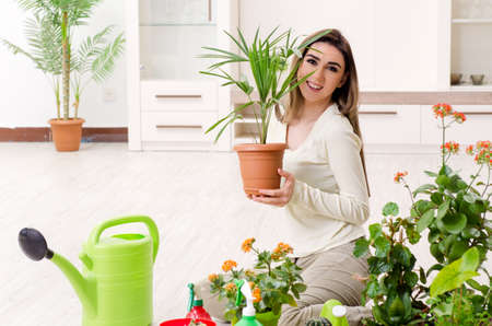 Young female gardener with plants indoors