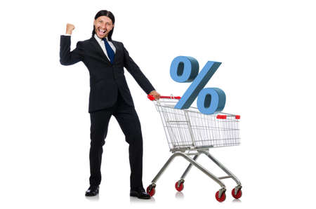 Man in sale and discount shopping concept