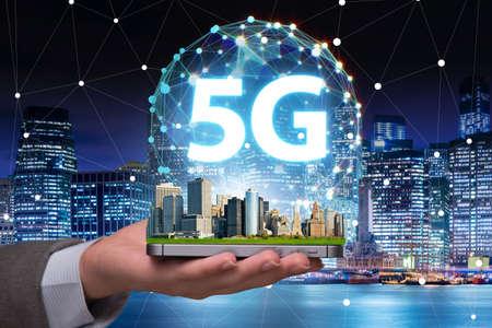 Concepto 5g de tecnología de conexión a internet.