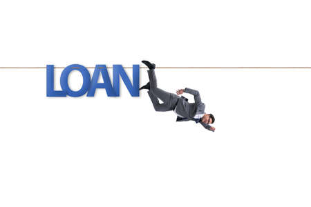 Debt and loan concept with businessman walking on tight rope