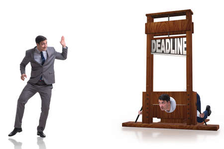 Businessman in deadline concept with guillotine
