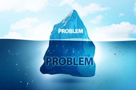 Problem concept with iceberg - 3d rendering