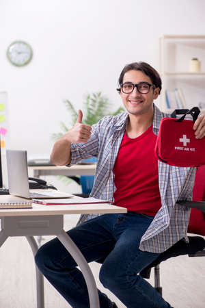 Male it specialist working in the office