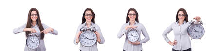Woman with clock isolated on white