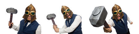 Funny man wearing pilot helmet and goggles