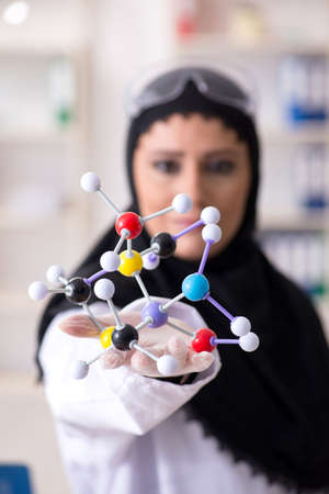 Female chemist in hijab working in the lab Foto de archivo