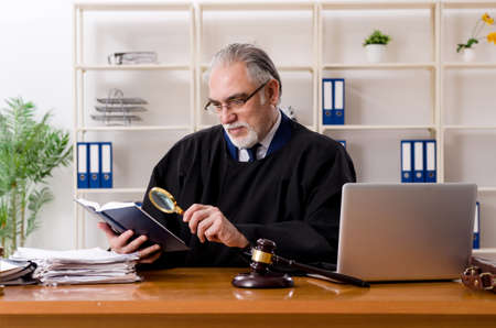 Aged lawyer working in the courthouse