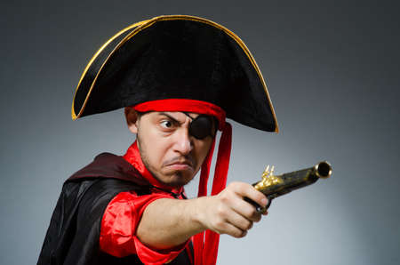 Man pirate against dark background